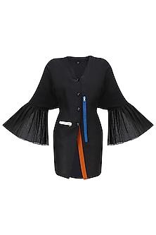 Black Kimono Sleeves V Neck Shirt by QUO