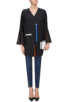 Black Kimono Sleeves V Neck Shirt by QUO