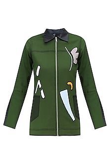 Green Hand Appliqued Denim Jacket by QUO