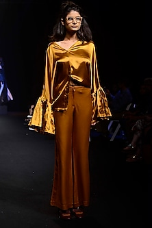 Gold Flared Sleeves Blouse by QUO