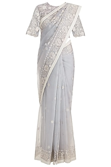 Ecru Embroidered Saree Set With Petticoat by RAR Studio