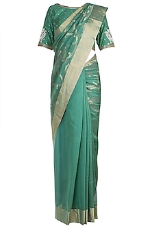 Moss Green Embroidered Saree Set by RAR Studio