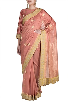 Old Rose Hand Embroidered Saree Set by RAR Studio