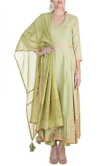 Green Hand Woven Anarkali Set by RAR Studio