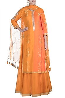 Rust Orange Embroidered Anarkali Set by RAR Studio