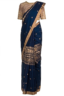 Indigo Hand Embroidered Saree Set by RAR Studio