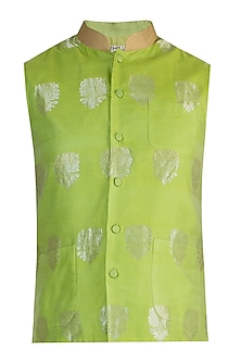 Lime Green Embellished Bundi Jacket by RAR Studio Men