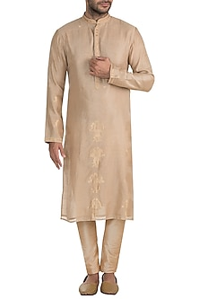 Beige Embellished Kurta by RAR Studio Men