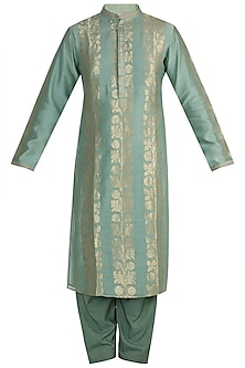 Moss Green Handwoven Kurta Set by RAR Studio Men