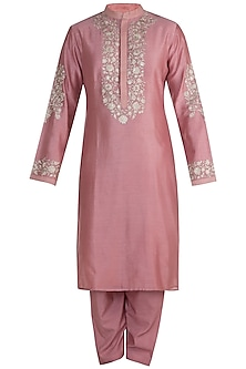 Old Rose Embroidered Kurta Set by RAR Studio Men