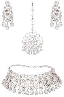 Silver platinum plated swarovski choker necklace and maang tikka set  by Ra abta
