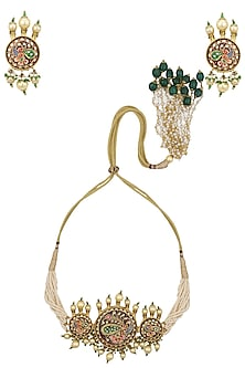 Gold Plated Tanzor Choker Necklace Set with Earrings by Ra Abta
