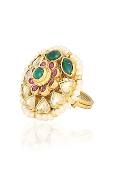 Gold Plated Jadao Floral Ring by Ra Abta