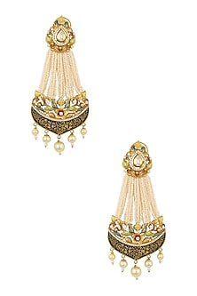 Antique Gold Plated Pearl Passa Earrings by Ra Abta