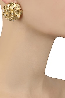 Rose Gold Plated Swarovski Stud Leaf Earrings by Ra Abta