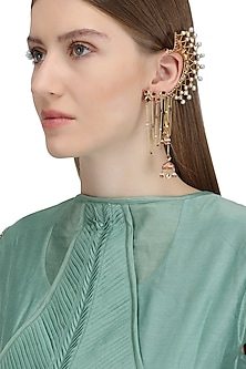 Gold Plated Lotus Stud Ear Cuff
