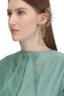 Gold Plated Lotus Stud Ear Cuff by Ra Abta