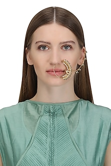 Gold Plated Green Beads and Pearls Nose Ring by Ra Abta