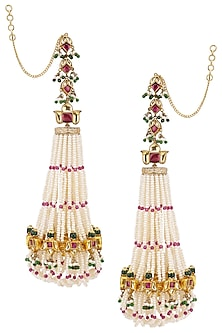 Gold Plated Mogra and Lotus Jhoomar Earrings by Ra Abta