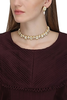 Gold Plated Pearl and Conch Choker Necklace by Ra Abta