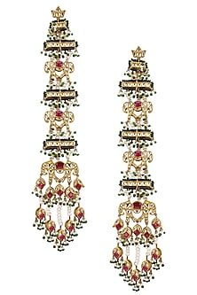 Gold Plated Royal Elephant Motif Suspended Earrings by Ra Abta