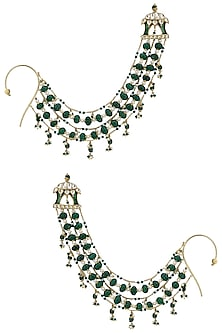 Gold Plated Green Melon Motif Suspended Earrings by Ra Abta