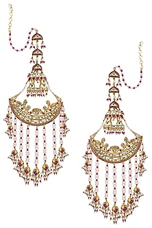 Gold Plated Palki Chaandbali Earrings by Ra Abta