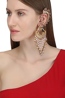 Gold Plated Crescent Shaped Palki Ear Cuffs