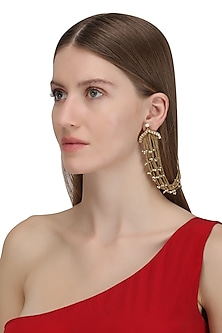 Gold Plated Long Palki and Pearl Chain Earrings by Ra Abta
