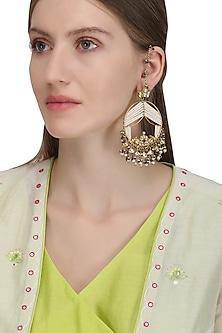 Gold Plated Samaroh Earrings by Ra Abta