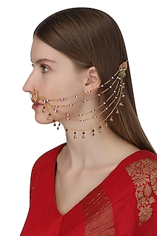 Gold Plated Beaded Chains Nose Ring