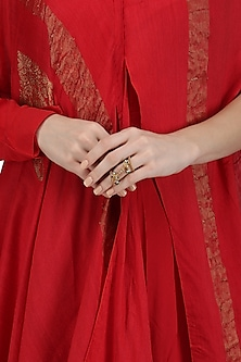 Gold Plated Shehnai and Tabla Motif Knuckle Ring by Ra Abta