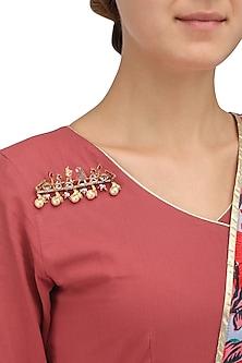 Gold Plated Pearls Pocket Brooch by Ra Abta