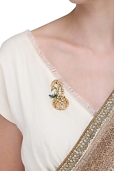 Gold Plated Emeralds and Pearls Brooch by Ra Abta
