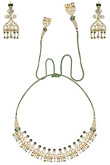 Gold Plated Palki Polki Choker Necklace Set by Ra Abta