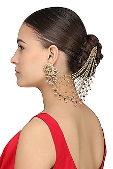 Gold Plated Kundan, Pearls and Ruby Suspender Earrings by Ra Abta