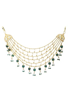 Gold Plated Rice Pearls and Green Onyx Hair Accessory by Ra Abta