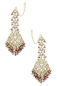 Gold Plated Kundan and Ruby Jadau Earrings by Ra Abta