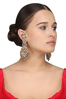 Gold Plated Kundan and Ruby Jadau Earrings
