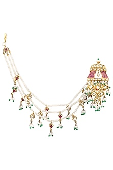 Gold Plated Kundan and Pearls Suspender Earrings by Ra Abta