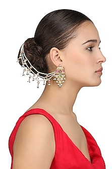 Gold Plated Kundan and Pearls Suspender Earrings