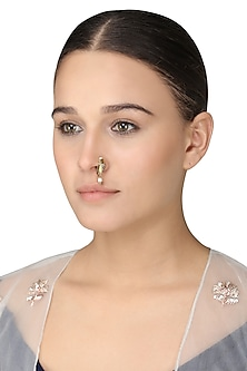 Gold Plated Rice Pearls Nose Ring by Ra Abta