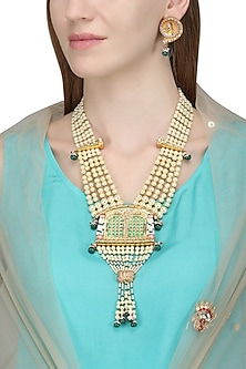 Gold Plated Kundan and Pearls Openable Palanquin Necklace Set by Ra Abta