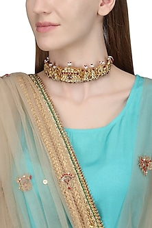 Gold Plated White and Red Kundan Choker Necklace