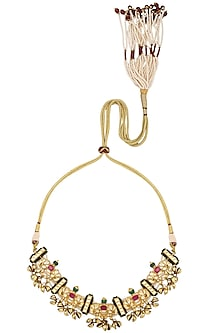 Gold Plated Kundan and Ghungroo Choker Necklace by Ra Abta