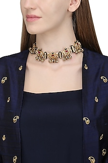 Gold Plated Kundan and Ghungroo Choker Necklace