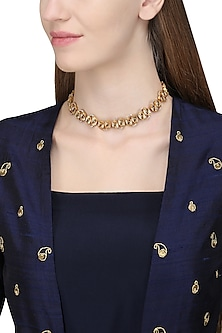 Gold Plated Kundan Stones Choker Necklace by Ra Abta