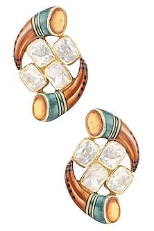 Gold Plated Kundan Stone Earrings by Ra Abta