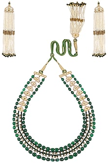 Gold Plated Pearls and Green Onyx Necklace Set by Ra Abta