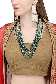Gold Plated Pearls and Green Onyx Necklace Set